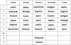 Schulalltag in Deutschland (une journée à l'école) dans Schule in Deutschland (l'école en Allemagne) stundenplan70RYLXR-300x191